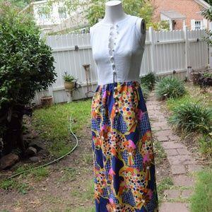 Vtg 60s Psychedelic MOD Toucan long maxi dress 2
